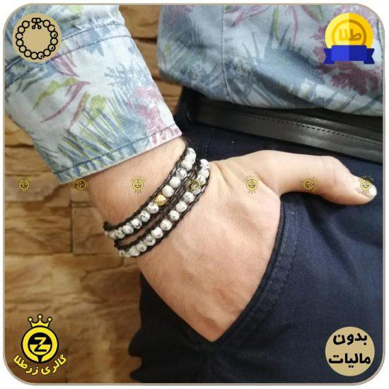 دستبند سنگی و گوی تراش طلا با سنگ ابسیدیان