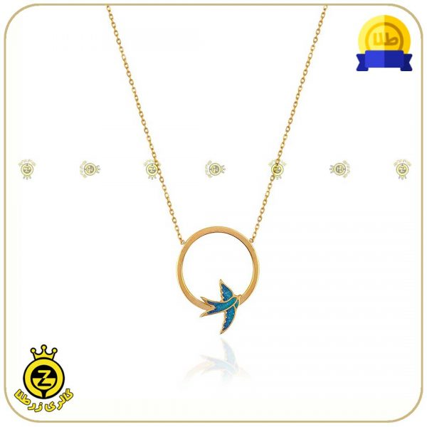 گردنبند طلا طرح دایره و پرستوی میناکاری