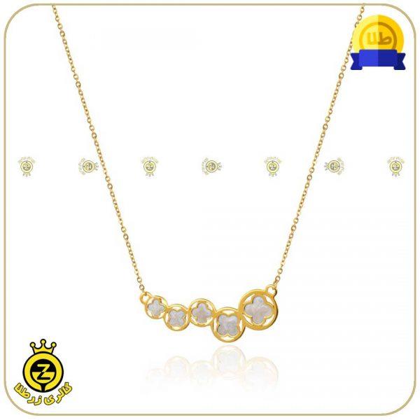 گردنبند طلا با دایره و طرح گل