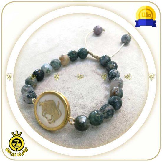 دستبند سنگی ماه تولد با پلاک طلا