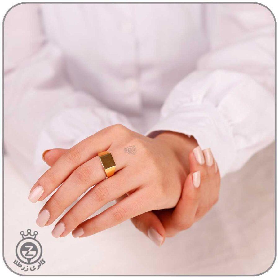 انگشتر طلا مربع توپر
