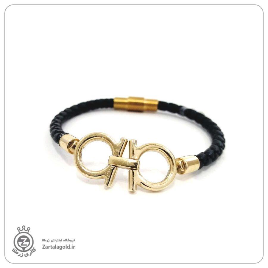 دستبند چرم و پلاک طلا طرح امگا