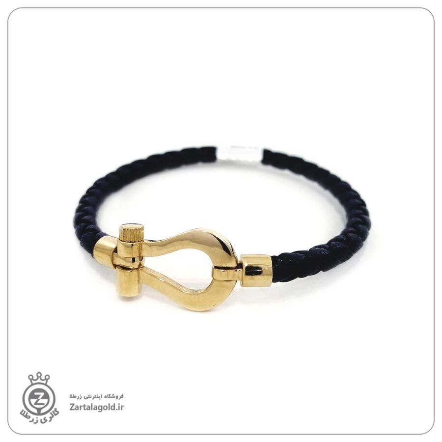 دستبند چرم و پلاک طلا طرح فرد 101