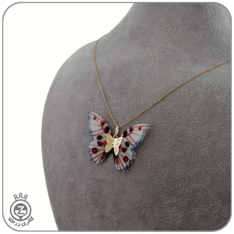 گردنبند طلا طرح پروانه 50