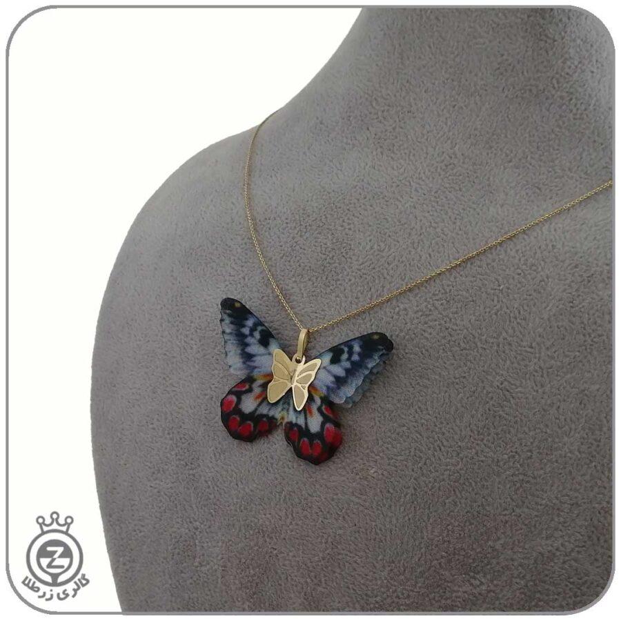 گردنبند طلا طرح پروانه 55