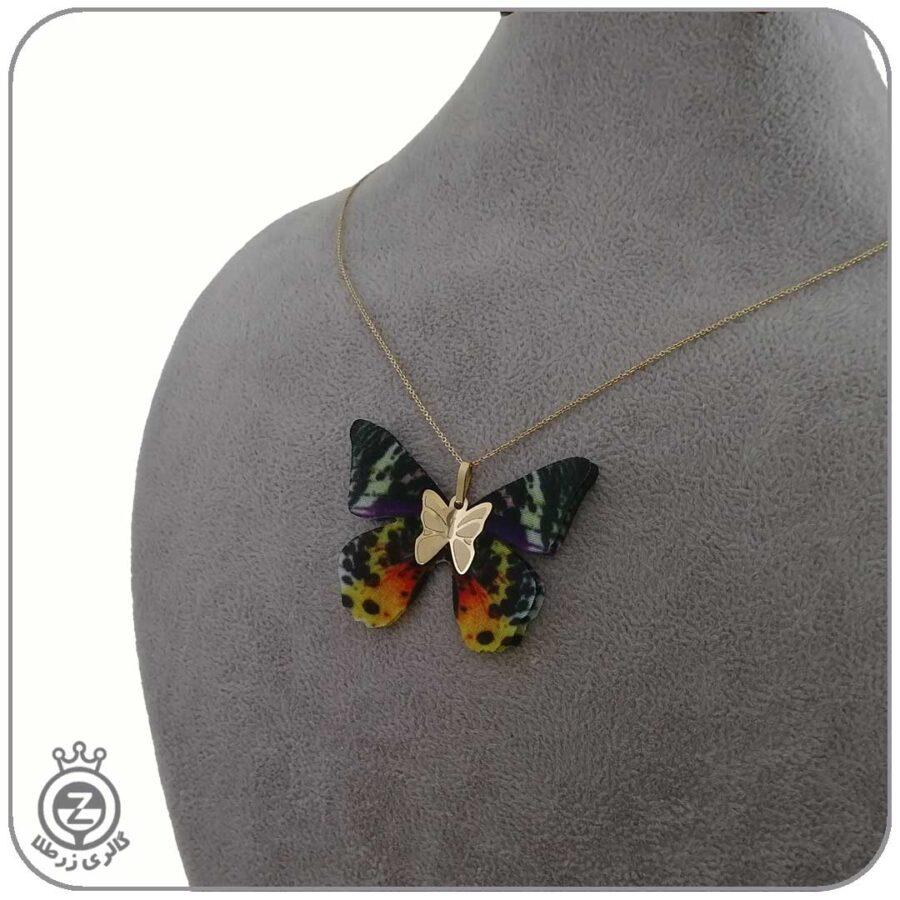 گردنبند طلا طرح پروانه 56