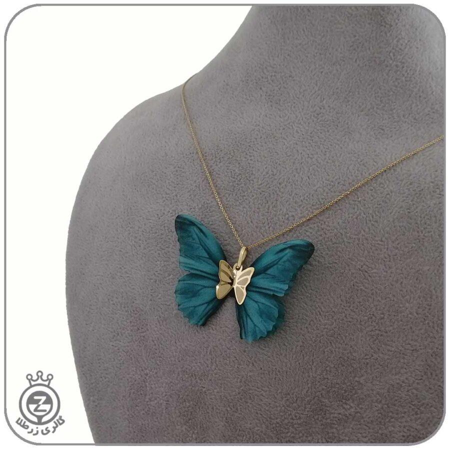 گردنبند طلا طرح پروانه 57